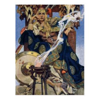 Carte Postale Femme vintage de guerrière de la Reine
