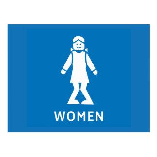 Carte Postale Femmes de toilette publique, signe, la Californie,