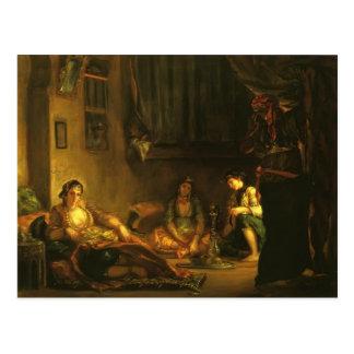 Carte Postale Femmes d'Eugene Delacroix- d'Alger en appartement
