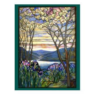 Carte Postale Fenêtre en verre teinté de Tiffany de magnolia et