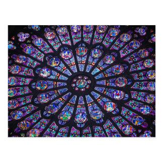 Carte Postale Fenêtre rose de Notre Dame