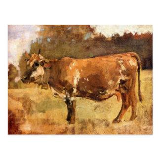 Carte Postale Ferdinand Hodler, vache dans un pâturage