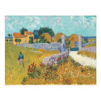 Carte Postale Ferme de Vincent van Gogh dans le paysage de la