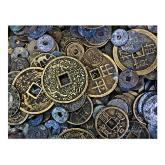 Carte Postale Fermez-vous des pièces de monnaie vietnamiennes