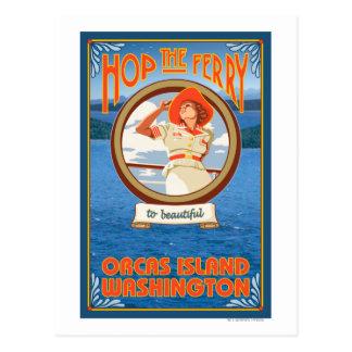Carte Postale Ferry d'équitation de femme - orques île,