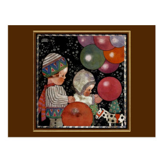 Carte Postale Fête d'anniversaire, ballons et jouets vintage