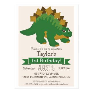Carte Postale Fête d'anniversaire de Stegosaurus de l'enfant