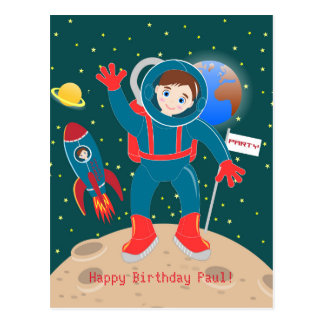 Carte Postale Fête d'anniversaire d'enfant d'astronaute