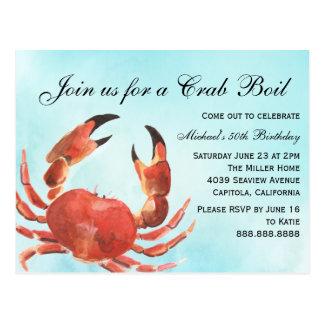 Carte Postale Fête d'anniversaire d'été d'ébullition de crabe de