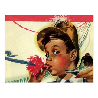 Carte Postale Fête d'anniversaire vintage, fille avec le