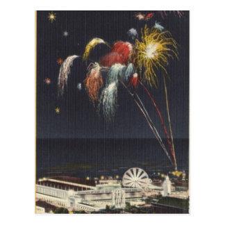 Carte Postale Feux d'artifice de Coney Island