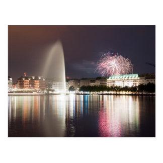 Carte Postale Feux d'artifice de Hambourg