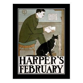 Carte postale : Février du harpiste par Edouard