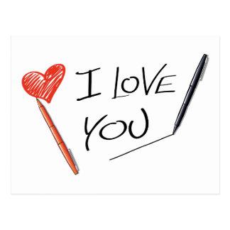 Carte Postale Fiançailles rouge de mariage de stylo de noir de