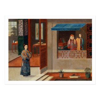 Carte Postale Figures dans un intérieur de vestiaire