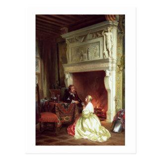 Carte Postale Figures dans un intérieur (huile sur le panneau)