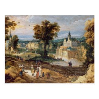 Carte Postale Figures dans un paysage avec le bey de village et