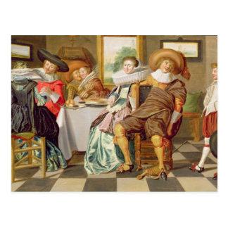 Carte Postale Figures élégantes se régalant à un Tableau