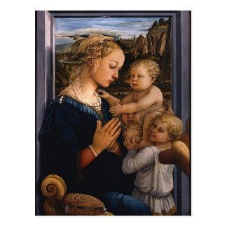 Carte Postale Filippo Lippi- Madonna et enfant avec deux anges