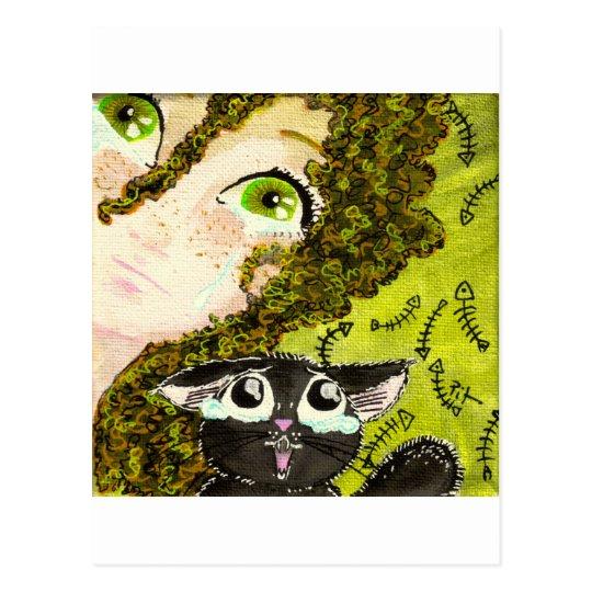 Carte Postale fille au chat 2