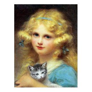 Carte Postale Fille avec le chaton : Peinture vintage par E.