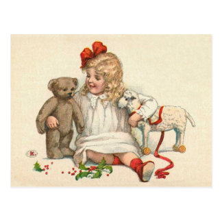 Carte Postale Fille avec le nounours et l'agneau