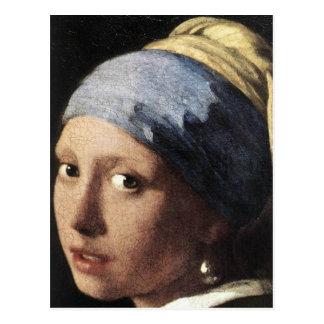 Carte Postale Fille avec une boucle d'oreille de perle (détail)