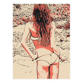 Carte Postale Fille de charme posant dans la lingerie chaude à