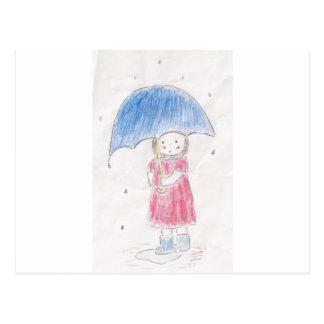 Carte Postale Fille de jour pluvieux