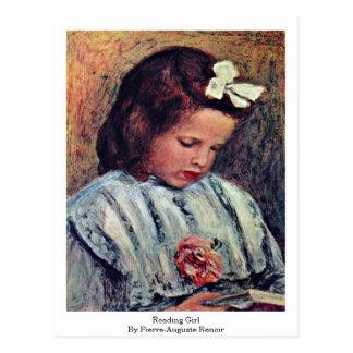 Carte Postale Fille de lecture par Pierre-Auguste Renoir