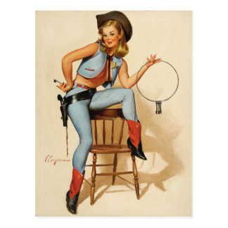Carte Postale Fille de Pin- de cow-girl