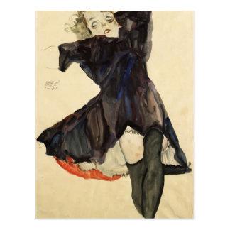 Carte Postale Fille d'Egon Schiele- dans la robe bleue