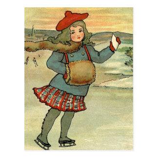 Carte Postale Fille En faisant du patin à roulettes