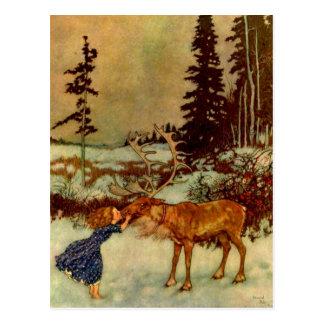 Carte Postale Fille et renne