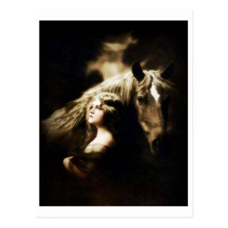 Carte Postale Fille gitane vintage avec le cheval