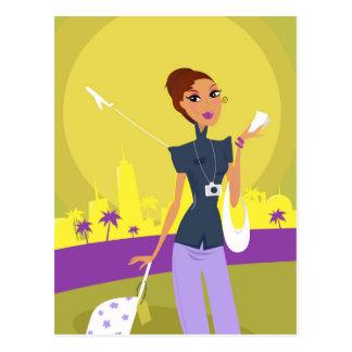 Carte Postale Fille mignonne d'aéroport avec l'illustration de