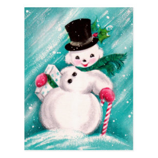 Carte Postale Fille mignonne de bonhomme de neige
