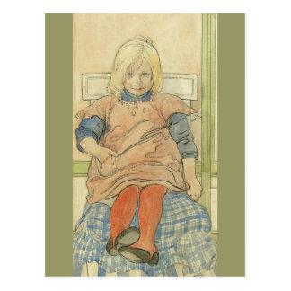 Carte Postale Fille suédoise vintage sur la chaise de plaid
