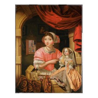 Carte Postale Fille tenant une poupée dans un intérieur