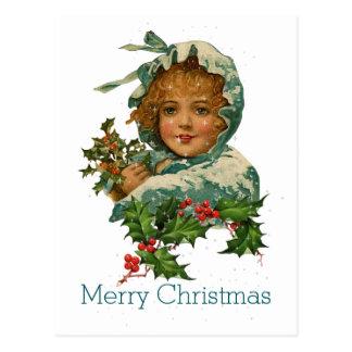 Carte Postale Fille victorienne vintage de houx de Joyeux Noël