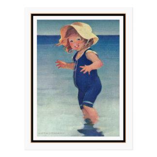 Carte Postale Fille vintage au bord de la mer par Jessie Willcox