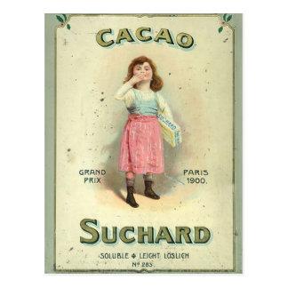 Carte Postale Fille vintage de baiser de chocolat de France