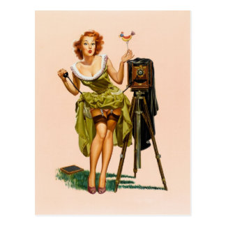 Carte Postale Fille vintage de pin-up d'appareil-photo