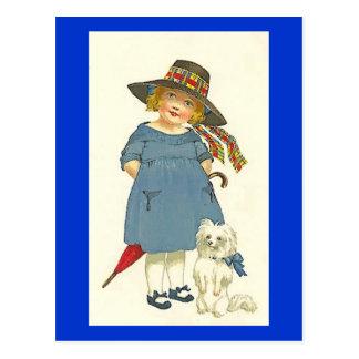 Carte Postale Fille vintage et chien
