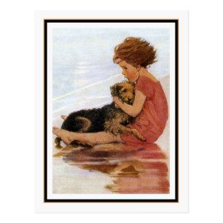 Carte Postale Fille vintage et chien par Jessie Willcox Smith