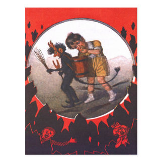 Carte Postale Fille volant Apple de Krampus