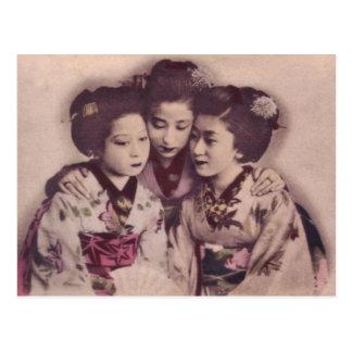 Carte Postale Filles de geisha japonaises, 1900