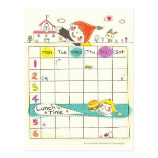 Carte Postale Filles jouant par l'école et l'horaire