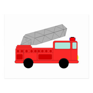 Carte Postale Firetruck rouge mignon