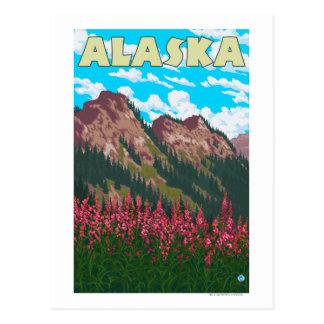 Carte Postale Fireweed avec l'affiche vintage de voyage de